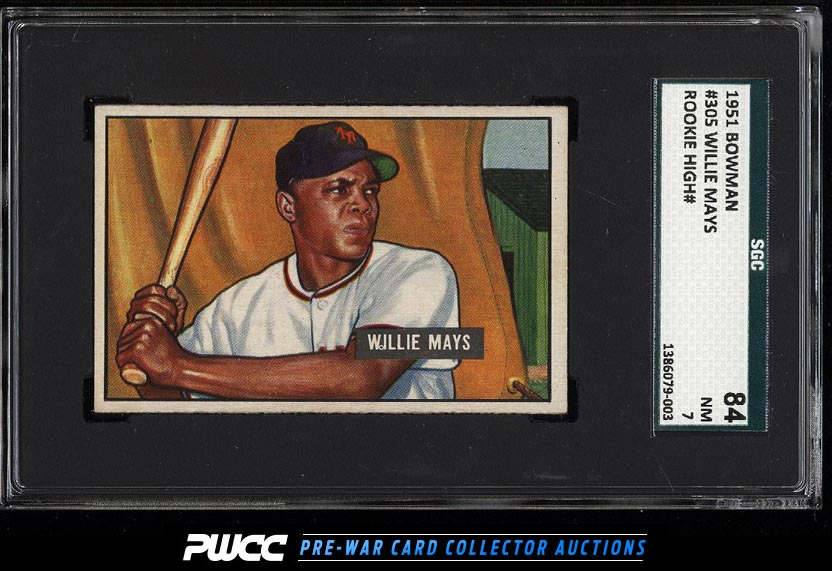 1951 Bowman Willie Mays ROOKIE RC 305 SGC 784 NRMT PWCC