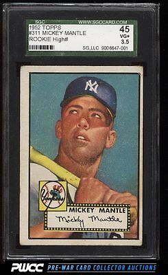 1952 Topps Mickey Mantle 311 SGC 3545 VG PWCC