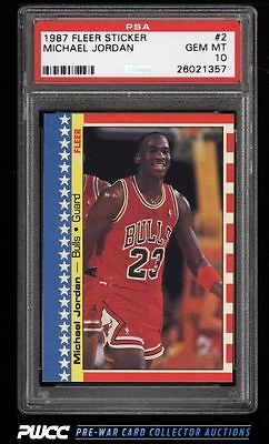 1987 Fleer Sticker Michael Jordan 2 PSA 10 GEM MINT PWCC