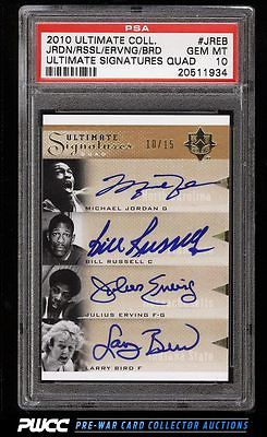 2010 Ultimate Collection Michael Jordan Erving Russell AUTO 15 PSA 10 PWCC