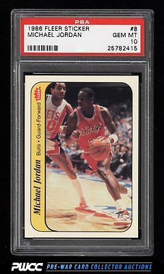 1986 Fleer Sticker Michael Jordan ROOKIE RC 8 PSA 10 GEM MINT PWCC