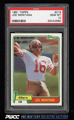 1981 Topps Football Joe Montana ROOKIE RC 216 PSA 10 GEM MINT PWCC