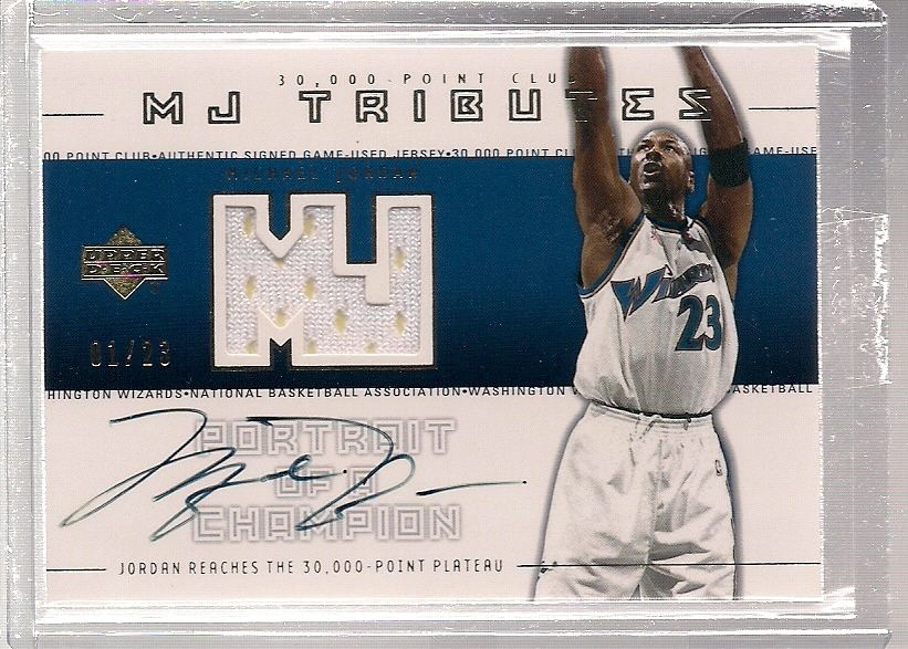 200102 Upper Deck MJ Tributes MICHAEL JORDAN Autograph AUTO Patch JSY 23 11
