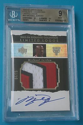 200304 Exquisite Limited Logos 3 CLR Patch AUTO Michael Jordan 6475 BGS9 10