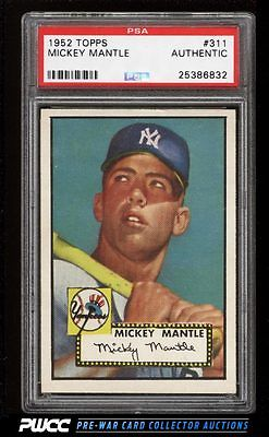 1952 Topps Mickey Mantle 311 PSA AUTH PWCC