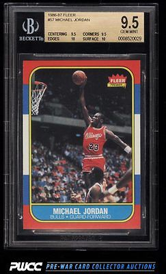 1986 Fleer Basketball Michael Jordan ROOKIE RC 57 BGS 95 GEM MINT PWCC