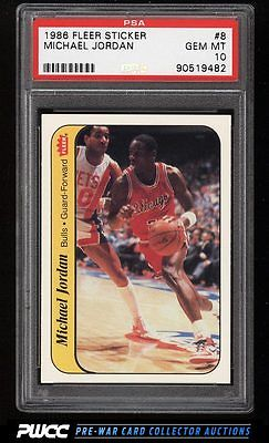 1986 Fleer Sticker SETBREAK Michael Jordan ROOKIE RC 8 PSA 10 GEM MINT PWCC