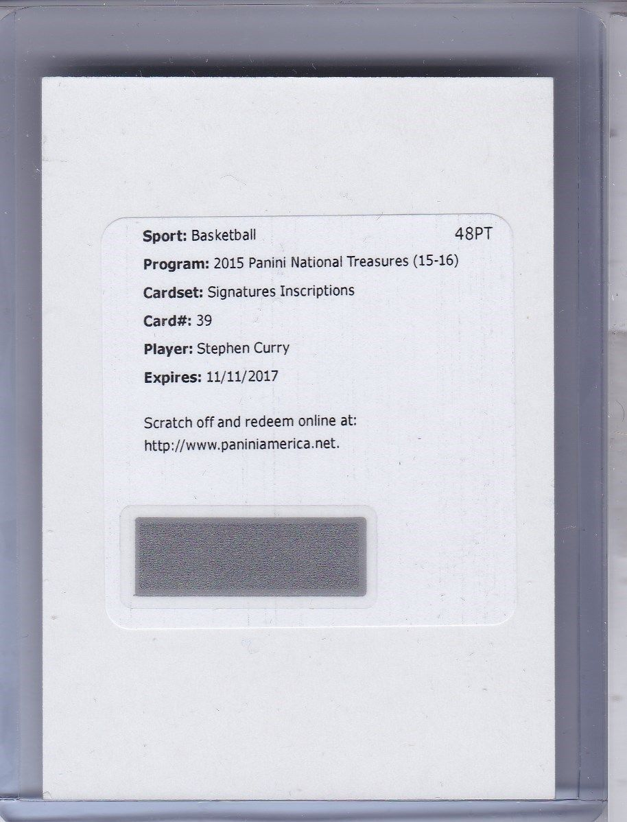 Stephen Curry 201516 National Treasures Inscriptions Auto 10