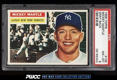1956 Topps Mickey Mantle 135 PSA 8 NMMT PWCC