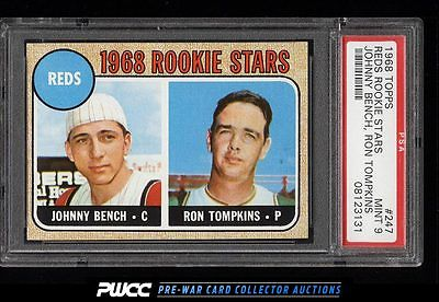 1968 Topps Johnny Bench ROOKIE RC 247 PSA 9 MINT PWCC