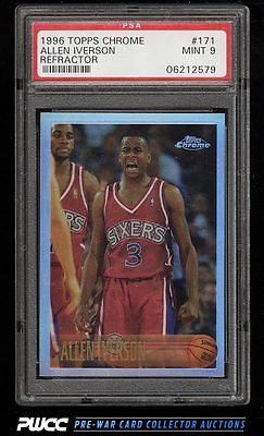 1996 Topps Chrome Refractor Allen Iverson ROOKIE RC 171 PSA 9 MINT PWCC